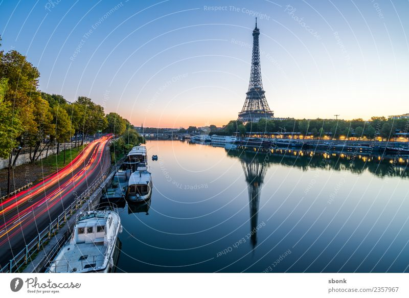 Paris in the morning Vacation & Travel Summer Town Skyline Eiffel Tower Love France urban City architecture tourism French cityscape view sky Colour photo