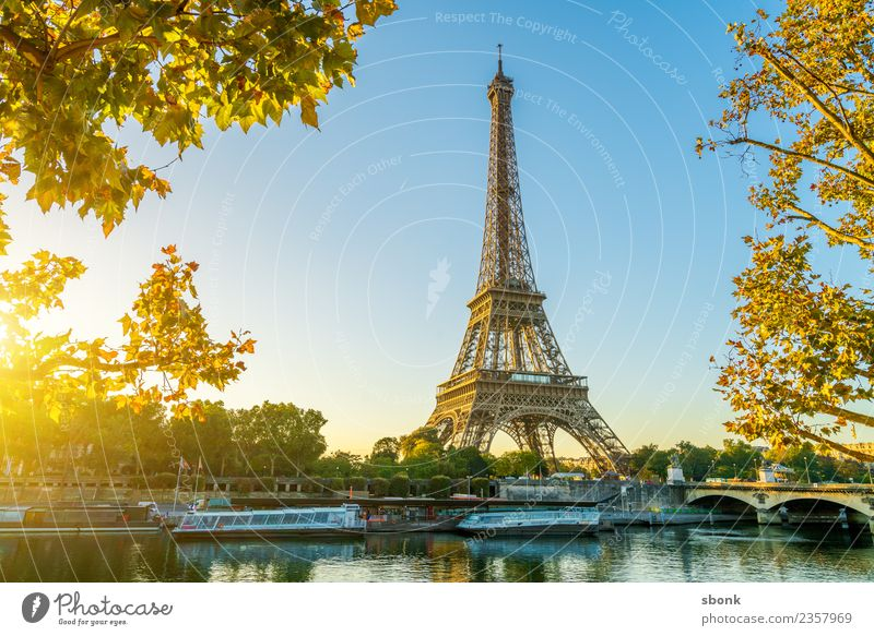 Paris morning sun Vacation & Travel Summer Town Capital city Skyline Manmade structures Building Architecture Eiffel Tower Love France urban City tourism French