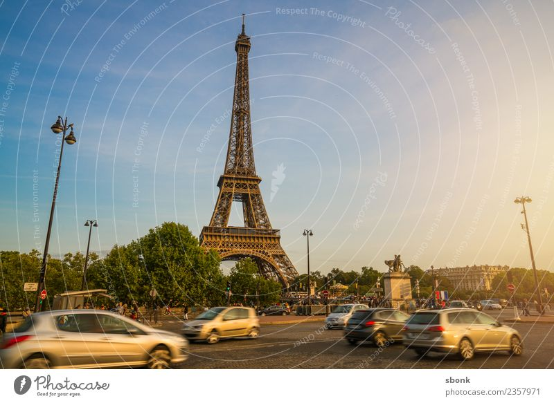 Paris in the afternoon Vacation & Travel Summer Skyline Eiffel Tower Love France urban City architecture tourism French cityscape view sky Exterior shot Evening
