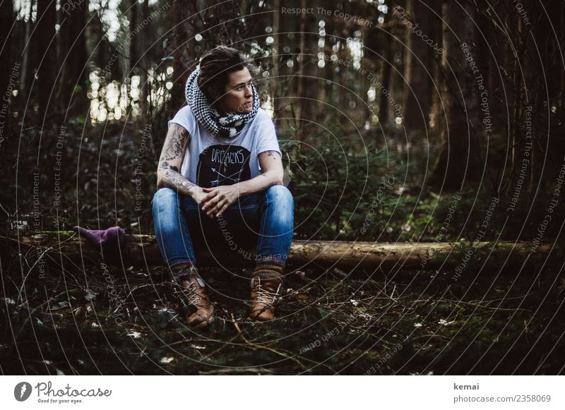 forest solitude Lifestyle Style Calm Leisure and hobbies Adventure Freedom Human being Feminine Woman Adults 1 30 - 45 years Tattoo Nature Forest Tree trunk