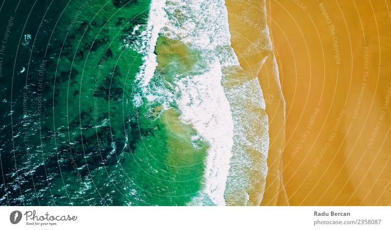 Aerial Panoramic Drone View Of Ocean In Portugal Environment Nature Landscape Sand Water Summer Weather Beautiful weather Warmth Waves Coast Beach Bay Island