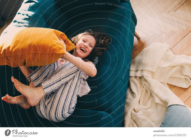 kid girl having fun at home Child Relaxation Joy Life Lifestyle Family & Relations Laughter Happy Playing Flat (apartment) Infancy Smiling Crazy Couch Home