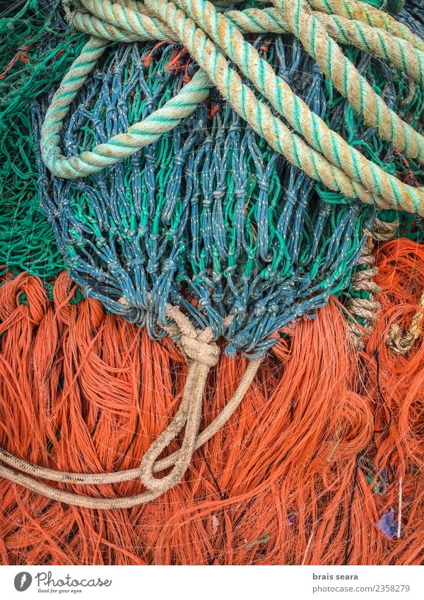 Fishing nets Work and employment Workplace Rope Navigation Fishing boat Net Blue Orange string Stack drying equipment backgrounds Conceptual design fishing