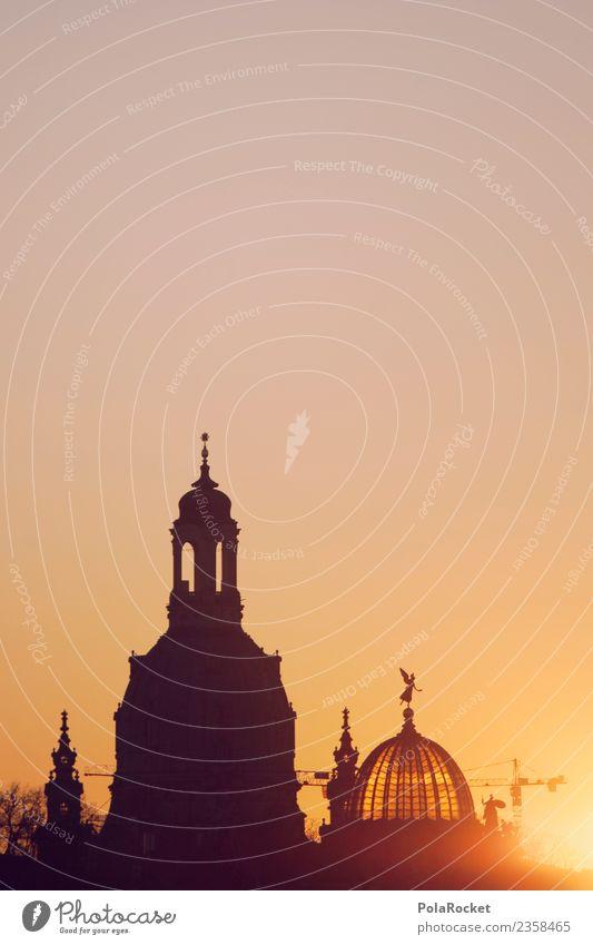 #A# Dresden Gold Art Esthetic Saxony Skyline Frauenkirche Sunset Baroque Domed roof Skyward Sky blue Church Religion and faith Sunbeam Warmth Summer