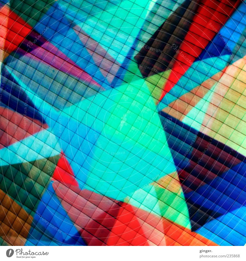 Homage to .marqs Design Multicoloured Abstract Grid Double exposure Prongs Point Deserted Graphic Irritation Colour photo Exterior shot Detail Experimental