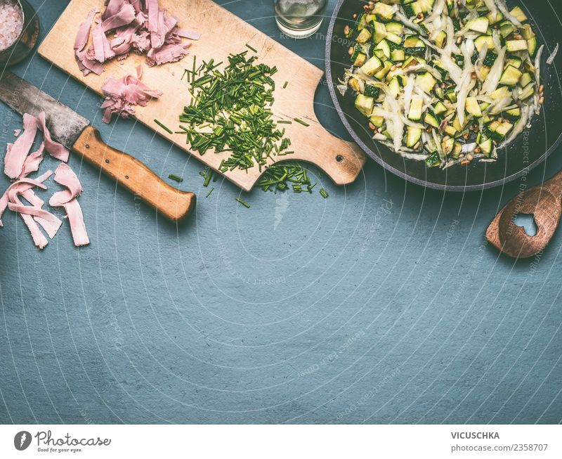 Food photograph Eating Style Design Living or residing Nutrition Herbs and spices Kitchen Vegetable Crockery Cooking Meat Knives Lunch Chopping board