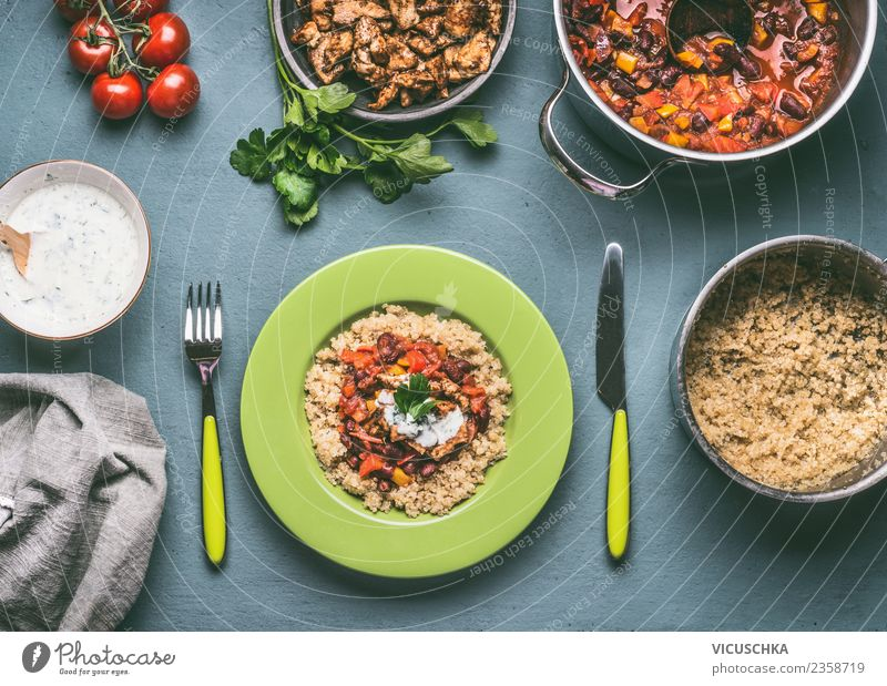 Healthy meal with quinoa and beans Food Meat Vegetable Grain Nutrition Lunch Dinner Organic produce Diet Crockery Plate Pot Cutlery Style Design Healthy Eating