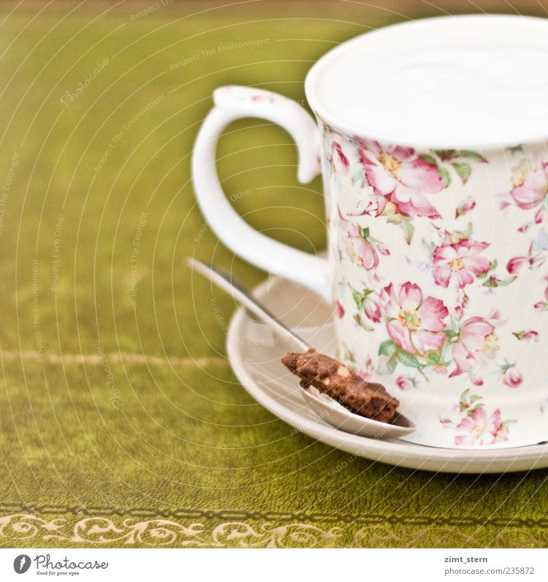 Milky Coffee Harmonious Well-being Contentment Relaxation Gastronomy Decoration Kitsch Odds and ends Drinking Esthetic Beautiful Sweet Brown Gold Green Pink