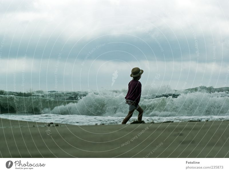 Human being Child Nature Ocean Girl Beach Clouds Environment Dark Coast Sand Earth Waves Infancy Going Wild