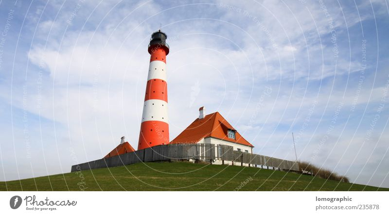 Lighthouse Westerhever Sand Vacation & Travel Tourism Trip Summer Landscape Sky Clouds Coast St. Peter-Ording Westerhever lighthouse Schleswig-Holstein