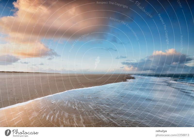 sunrise on North sea coast, Netherlands Sky Nature Blue Summer Water Landscape Ocean Clouds Beach Coast Movement Sand Horizon Waves Vantage point Island