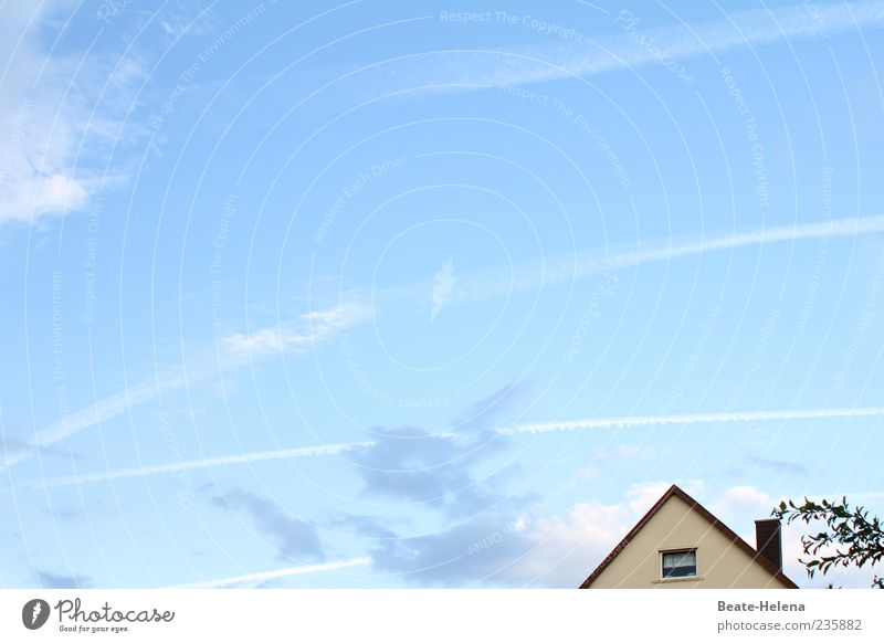 A heavenly day! House (Residential Structure) Environment Sky Clouds Beautiful weather Outskirts Detached house Window Chimney Looking Living or residing Blue