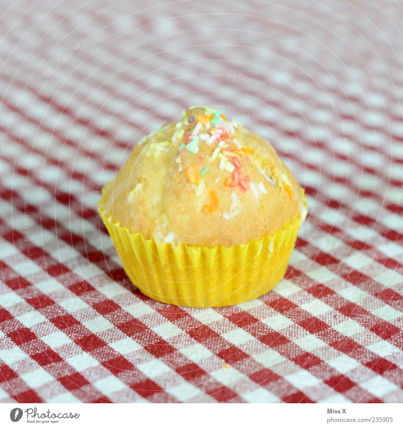 muffin Food Dough Baked goods Cake Dessert Nutrition Small Delicious Sweet Muffin Checkered Coulored sugar candy Granules Icing Colour photo Multicoloured