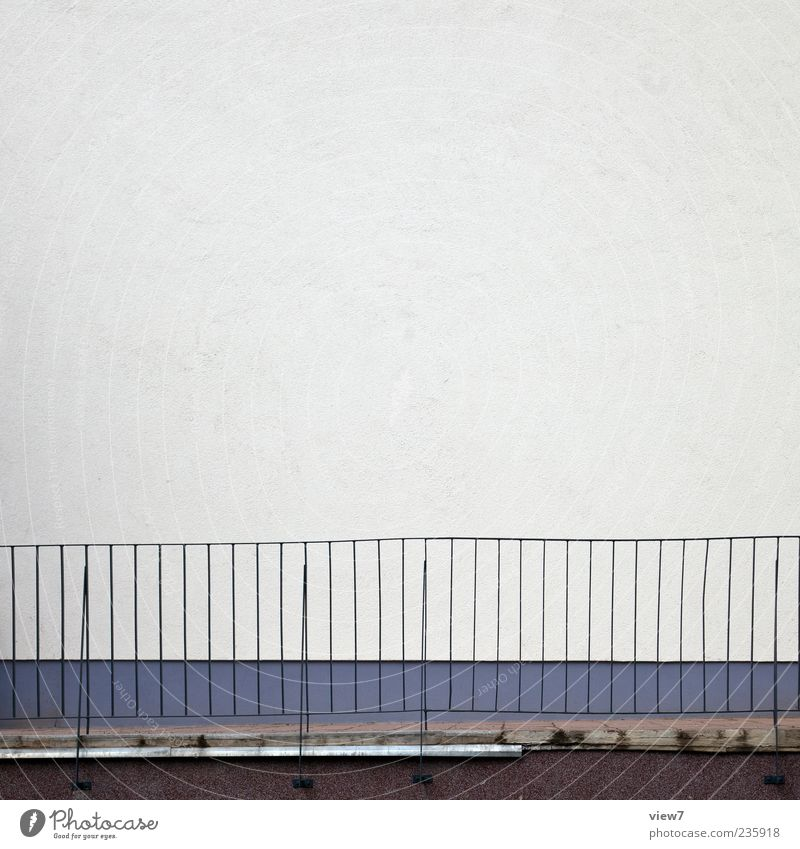 Space for you. Wall (barrier) Wall (building) Facade Stone Concrete Metal Line Stripe Thin Authentic Simple Gray Arrangement Handrail Exterior shot Pattern