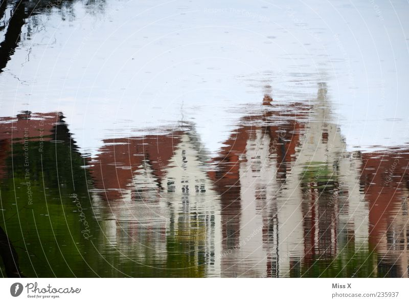 mirror Water Lake Brook River Town House (Residential Structure) Exceptional Water reflection Puddle Colour photo Exterior shot Experimental Copy Space top