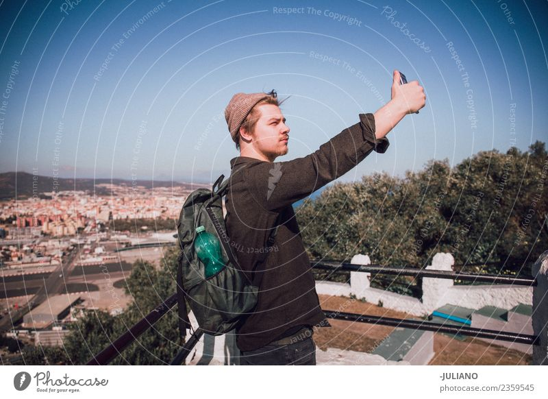 Young man is taking selfie at the top of the city Vacation & Travel Youth (Young adults) Summer Sun Joy Lifestyle Emotions Happy Freedom Adventure Illustration