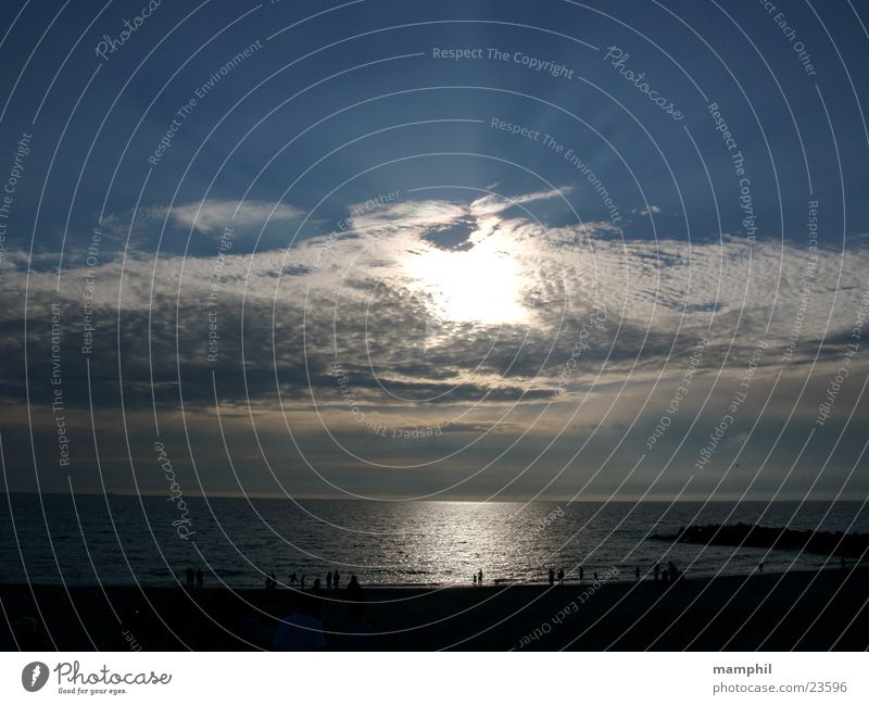 Evening atmosphere at the North Sea Ocean Lake Clouds Sunset Beach Back-light Agger Vestervig Human being Sky Denmark X