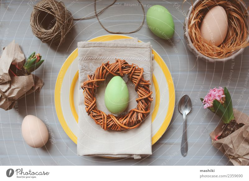 Easter and spring preparations Plant Green Flower Yellow Natural Garden Feasts & Celebrations Leisure and hobbies Decoration Modern Table Paper String Seasons