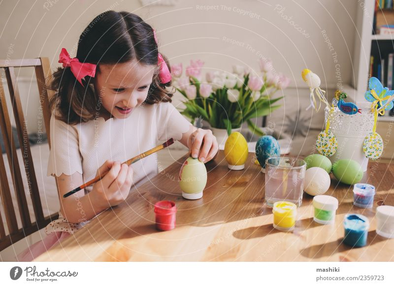 child painting easter eggs Handicraft Human being Child Painting (action, work) Education Easter Holiday season Crafty Easter egg Painting (action, artwork)