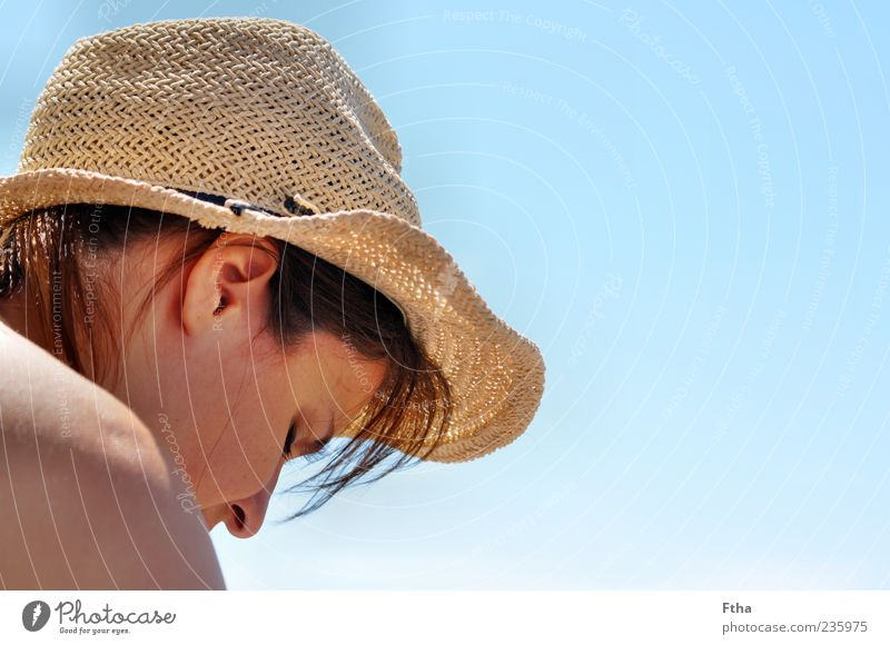 Human being Woman Youth (Young adults) Ocean Adults Feminine Head Contentment Young woman 18 - 30 years Beautiful weather Hat Blue sky Emotions Sunhat Straw hat