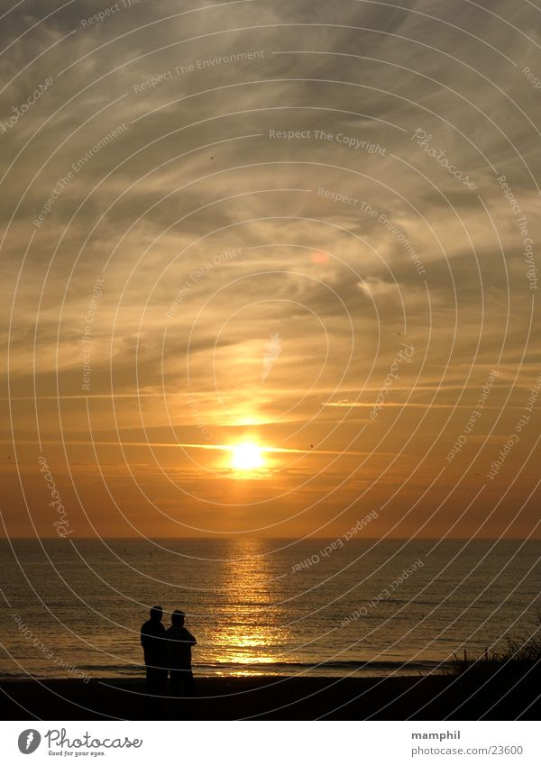 Sunset in Denmark #1 To go for a walk Beach Ocean Agger Vestervig Human being Water North Sea X