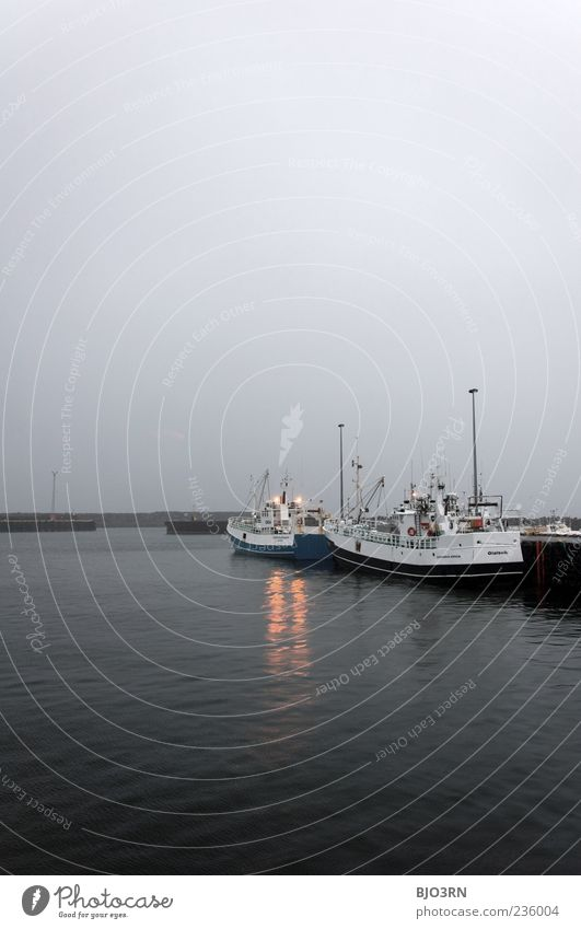 Nature Water Ocean Calm Cold Gray Watercraft Weather Fog Industry Harbour Navigation Jetty Iceland Dusk Fishery