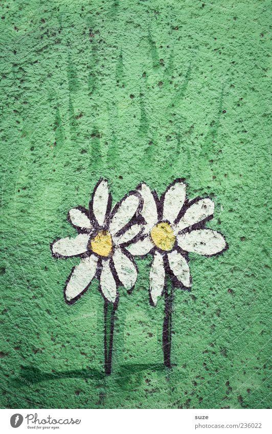 Beautiful Green Flower Graffiti Wall (building) Meadow Love Small Friendship Facade In pairs Simple Friendliness Daisy Plaster Comic