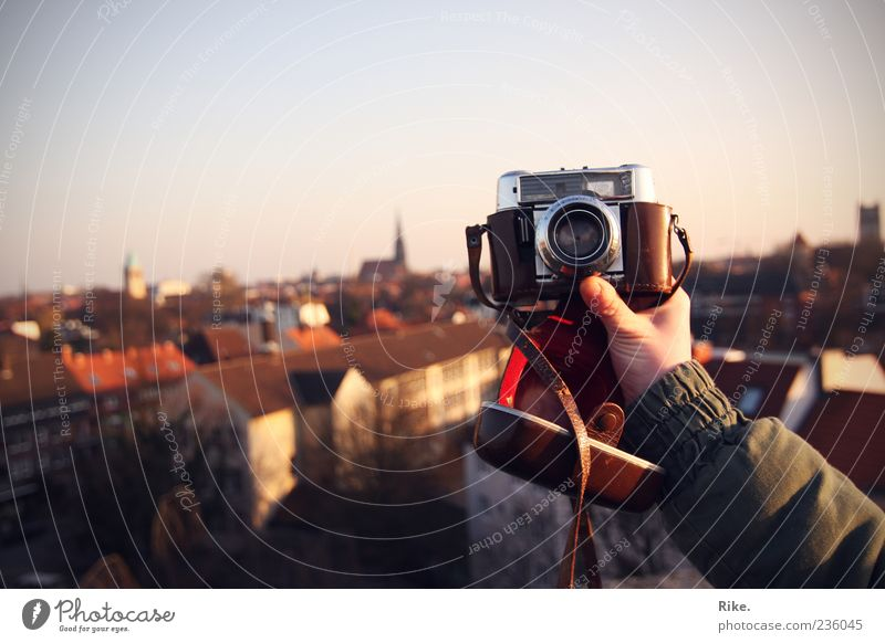 Click. Leisure and hobbies Far-off places City trip Camera Arm Art Photography Sky Münster Old town House (Residential Structure) Roof To hold on Looking Free