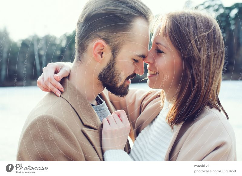 young happy loving couple Lifestyle Style Joy Happy Vacation & Travel Freedom Beach Woman Adults Man Couple Autumn Warmth Tree Forest Fashion Coat Beard Smiling