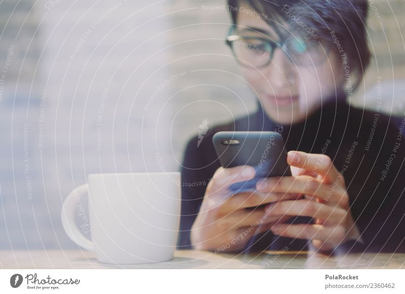 #A# coffee text Art Work of art Esthetic Coffee break Cellphone Chat Café Typing Communicate Means of communication Communicative Woman Eyeglasses Search