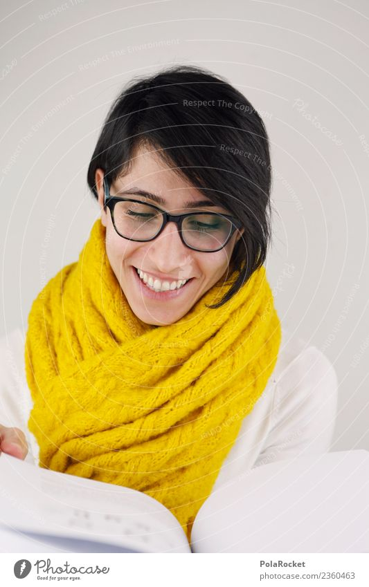 #A# Read Art Esthetic Scarf Woman Friendliness Smiling Laughter Yellow Book Reading Search Academic studies Eyeglasses Print media Colour photo Subdued colour