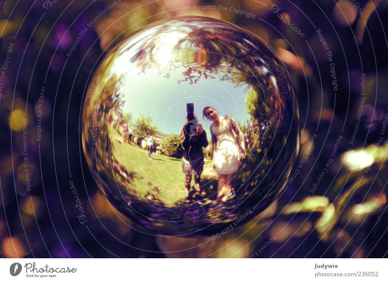 The earth is round! Garden Decoration Young woman Youth (Young adults) Nature Beautiful weather Dress Mirror Sphere Looking Exceptional Round Crazy Discover