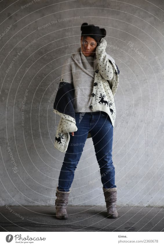 Samina Feminine Woman Adults 1 Human being Tunnel Wall (barrier) Wall (building) Jacket Boots Hair and hairstyles Black-haired Long-haired Afro Observe Think