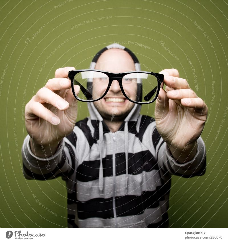 Human being Man Hand Joy Black Face Adults Laughter Funny Large Masculine Exceptional Crazy Eyeglasses Observe Young man
