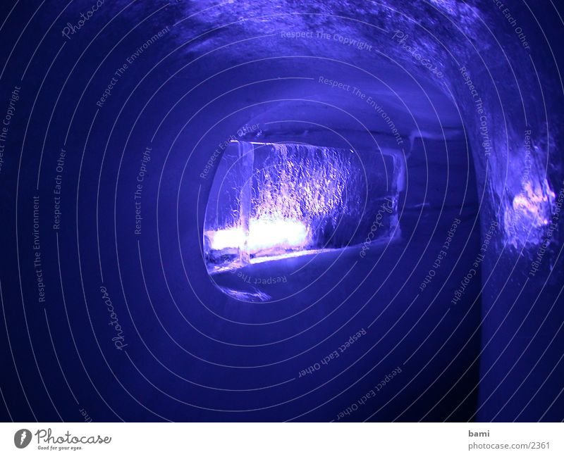 Blue Cold Dark Ice Violet Frozen Tunnel Illumination Cave Photographic technology Toboggan run