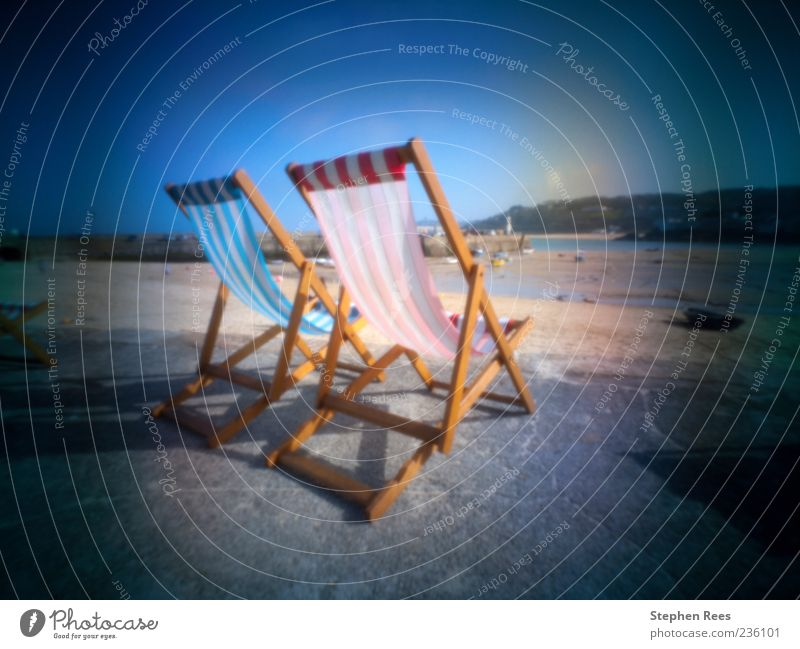 Soft focus pinhole photo deckchairs in St. Ives, UK. Vacation & Travel Summer Joy st ives seaside Harbour Beach Beach chair blue sky England British 2 Cornwall