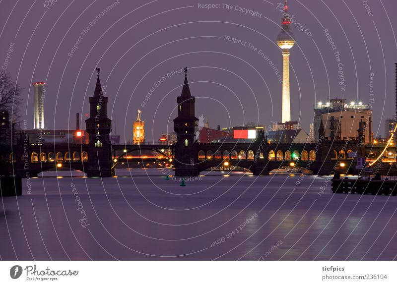 berlin in purple Tourism River City hall Bridge Tourist Attraction Landmark Brick Berlin Oberbaumbrücke Kreuzberg Friedrichshain Skyline Television tower