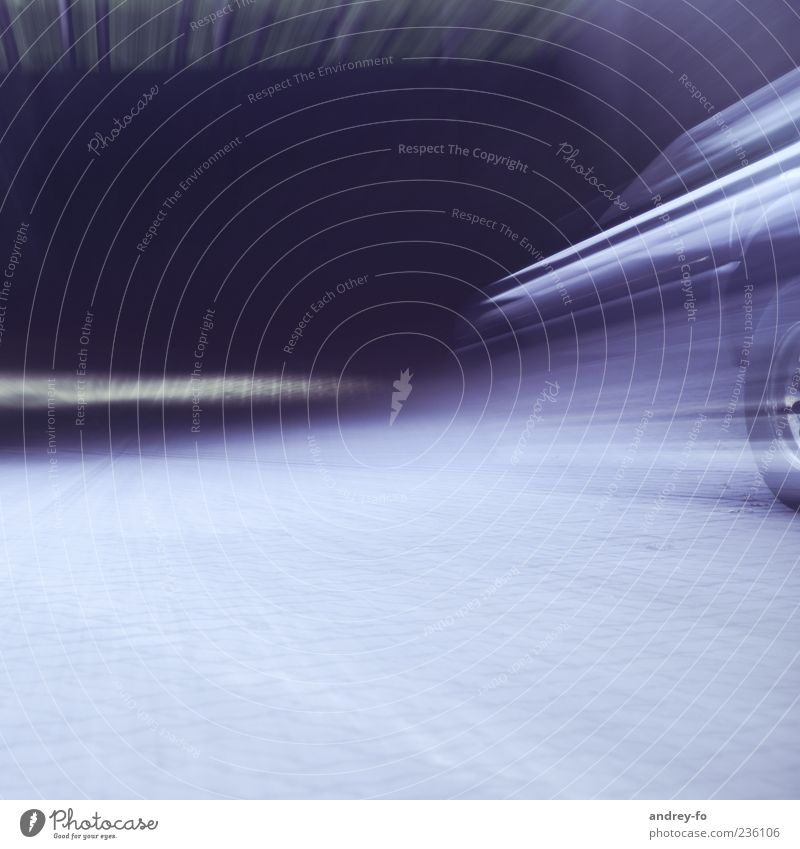 quickly away Deserted Transport Street Highway Tunnel Vehicle Concrete Movement Driving Infinity Blue Violet Racing sports Tire Racing car Speed Sports car Blur