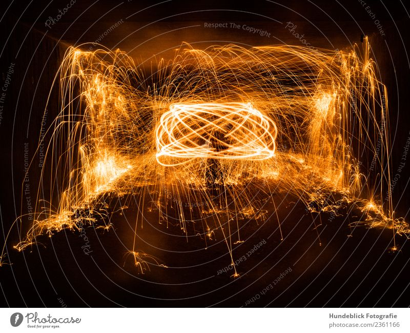 flying sparks Elements Fire Warmth Yellow Gold Orange Black Spark Firecracker Colour photo Exterior shot Abstract Copy Space bottom Night Light Shadow