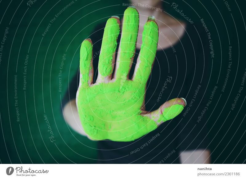 Hand dirty of green dust Design Exotic Human being Feminine Woman Adults Youth (Young adults) 1 18 - 30 years Art Artist Painter Hand posture Stop Communicate