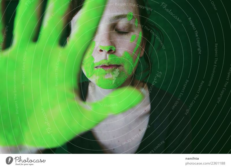 Young woman dirty of green dust behind her hand Design Exotic Face Relaxation Calm Meditation Human being Feminine Youth (Young adults) 1 18 - 30 years Adults