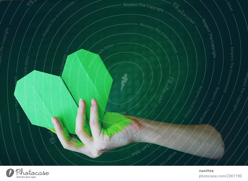 Hand holding a green paper heart Human being Feminine Young woman Youth (Young adults) Woman Adults 1 18 - 30 years Art Artist Work of art Culture Paper Origami