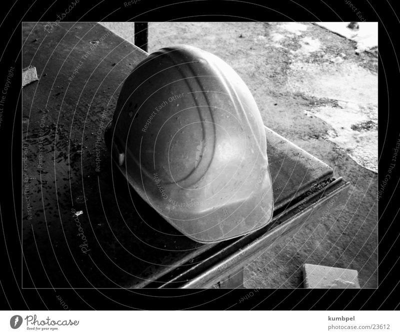 Site series photo 2 Construction site Row Helmet Construction worker Safety Table Things Black & white photo Protection Rough