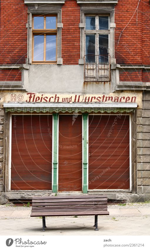 EVERYTHING HAS AN END Meat Sausage Nutrition Vegetarian diet Shopping Trade Small Town Downtown Deserted House (Residential Structure) Ruin Wall (barrier)