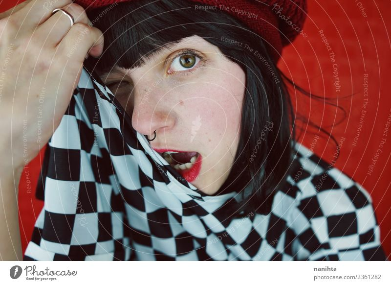 Youthful woman in a funny shot Human being Youth (Young adults) Young woman Beautiful White Red 18 - 30 years Black Face Adults Lifestyle Funny Feminine Style
