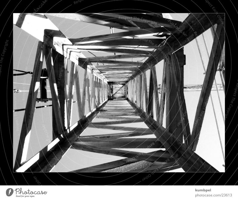Site series Photograph 1 Construction site Row Crane Crossbeam Light Things Black & white photo Metal Shadow Perspective Dynamics