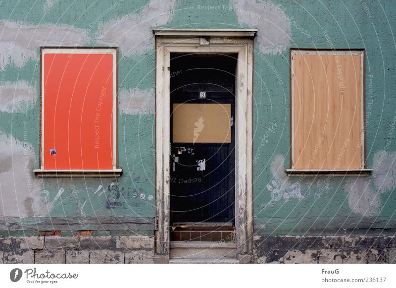 Old-Colored House (Residential Structure) Wall (barrier) Wall (building) Window Door Wood Brown Green Red Decline Transience Colour photo Exterior shot Day