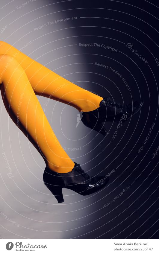 Human being Youth (Young adults) Black Feminine Legs Fashion Orange Footwear Elegant Modern Young woman Stockings Hip & trendy Tights Self-confident High heels