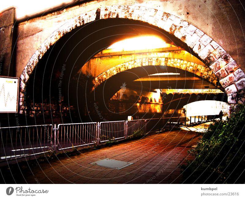 bridge twilight Transform Light Bizarre Gloomy Loneliness Twilight Sunset Sunbeam Night Bridge Change Old dawn Evening in the evening Graffiti and