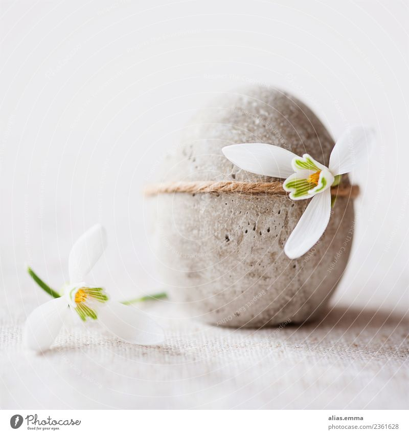 Easter egg made of concrete decorated with small snowdrops Handicraft Decoration Feasts & Celebrations Spring Flower Snowdrop Concrete Gray White Happy